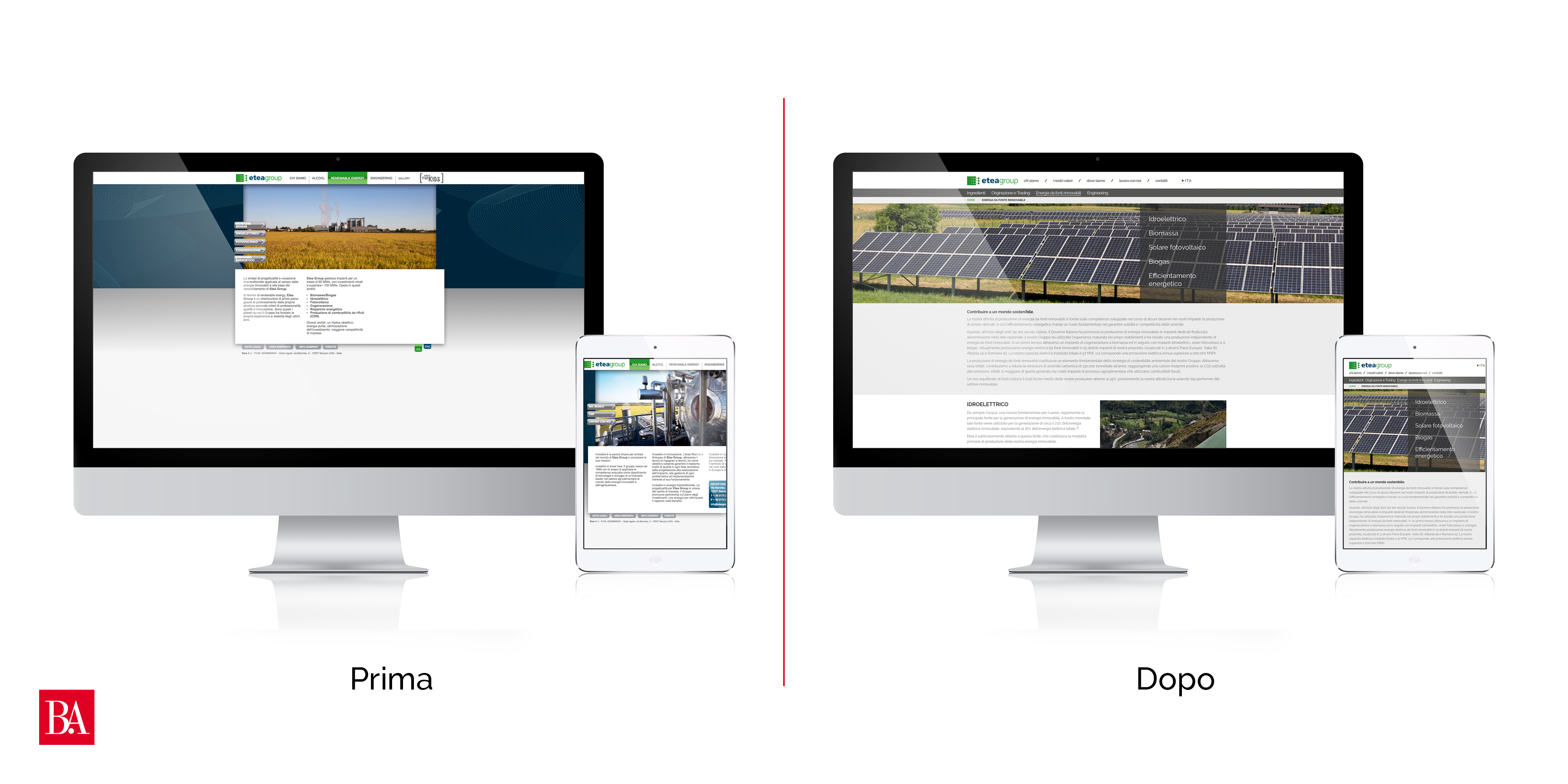 Realizzare sito - Confronto prima-dopo